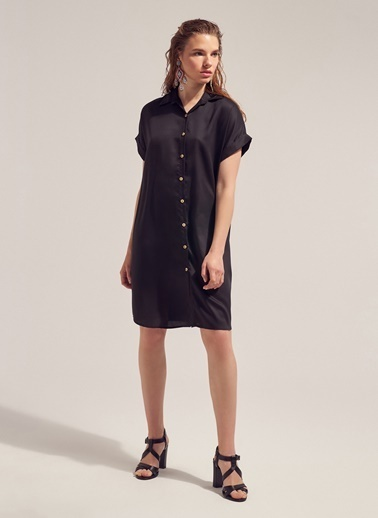 Monamoda Kısa Kol Tensel Gömlek Elbise Siyah
